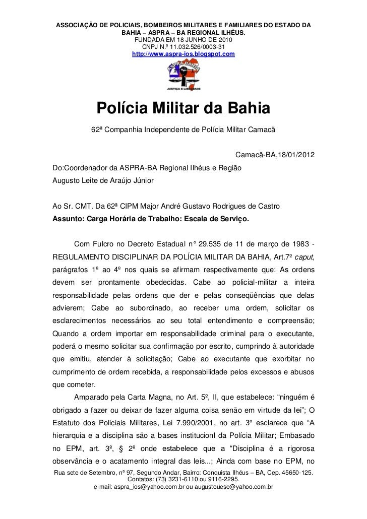 ASSOCIAÇÃO DE POLICIAIS, BOMBEIROS MILITARES E FAMILIARES DO ESTADO DA                  BAHIA – ASPRA – BA REGIONAL ILHÉUS...
