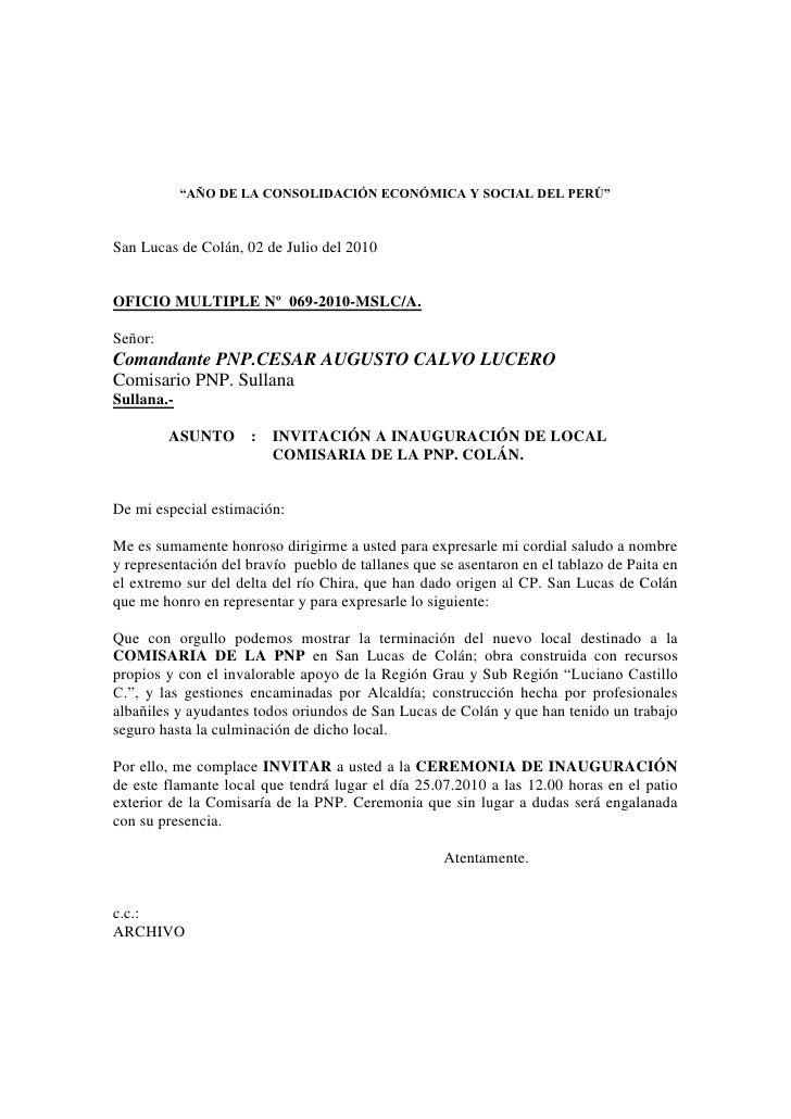 """""""AÑO DE LA CONSOLIDACIÓN ECONÓMICA Y SOCIAL DEL PERÚ""""    San Lucas de Colán, 02 de Julio del 2010   OFICIO MULTIPLE Nº 069..."""