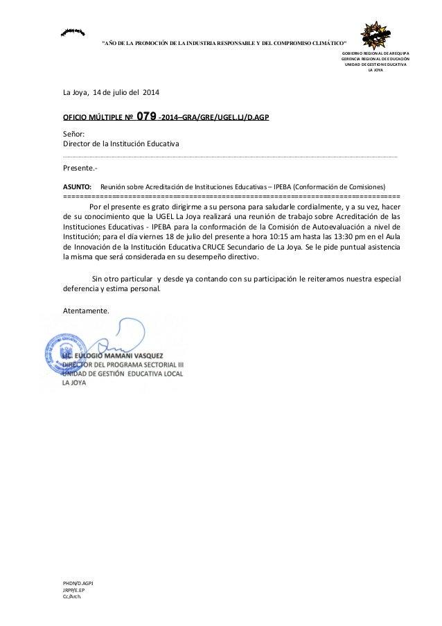 """GOBIERNO REGIONAL DE AREQUIPA GERENCIA REGIONAL DE EDUCACIÓN UNIDAD DE GESTION EDUCATIVA LA JOYA """"AÑO DE LA PROMOCIÓN DE L..."""
