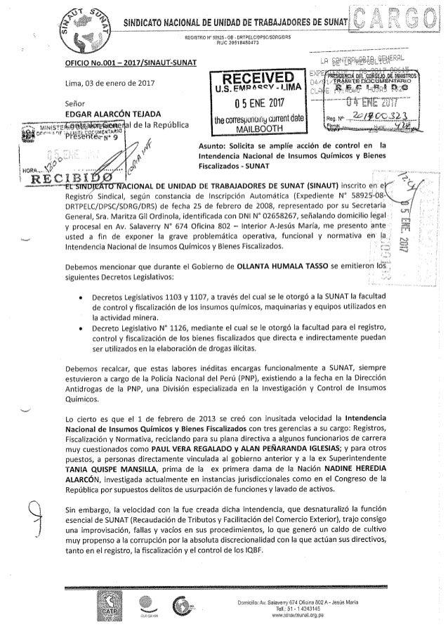 Oficio n°001 2017 sinautsunat solicita se amplie accion de control en la intendencia nacional de insumos quimicos y bienes...
