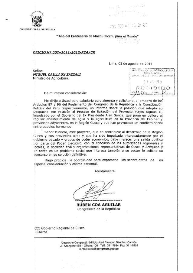 Oficio n° 007 2011