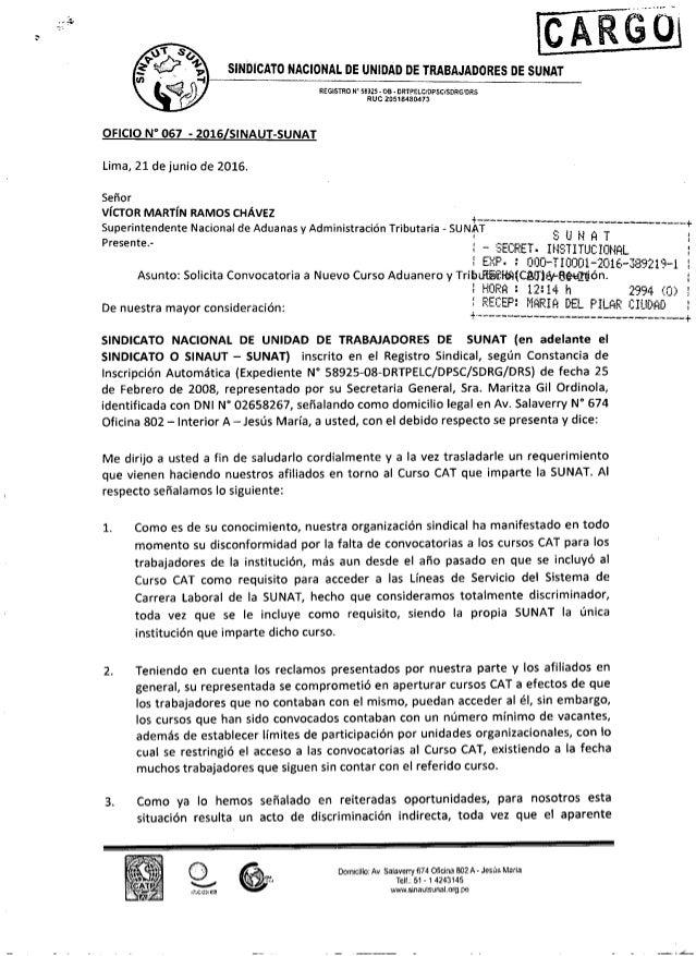 Convocatoria sunat 2016 oficio n 176 067 2016 sinautsunat for Convocatoria profesores 2016