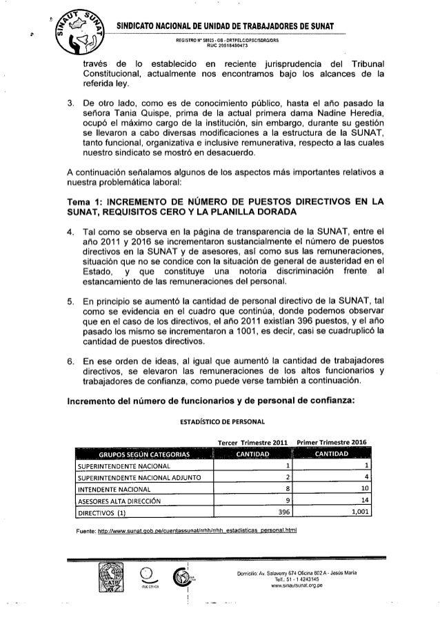 Oficio n 076 2016 sinautsunat denunciamos malas practicas for Oficina nacional de gestion tributaria