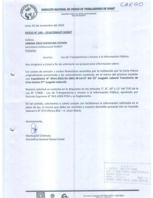 Oficio n°160 2016 ley de transparencia y acceso a la informacion publica-rspta carta n°003-2016-sunat-8_c1000