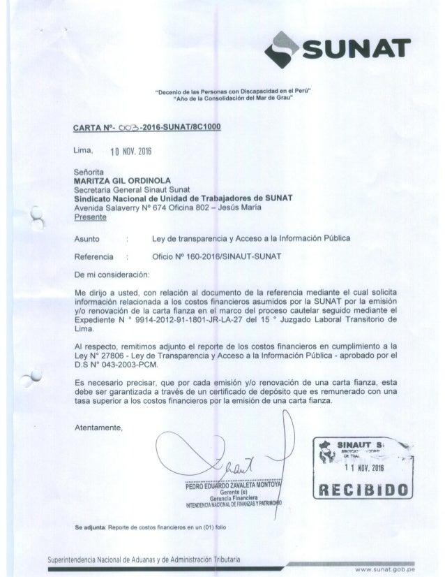 Oficio n°160 2016 ley de transparencia y acceso a la informacion publica-rspta carta n°003-2016-sunat-8_c1000 Slide 2