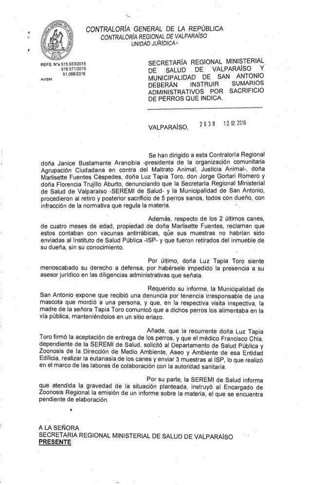 CONTRALORÍA GENERAL DE LA REPÚBLICA CONTRALORÍA REGIONAL DE VALPARAÍSO UNIDAD JUTIIDICA , SECRETARÍA REGIONAL MINISTERIAL ...