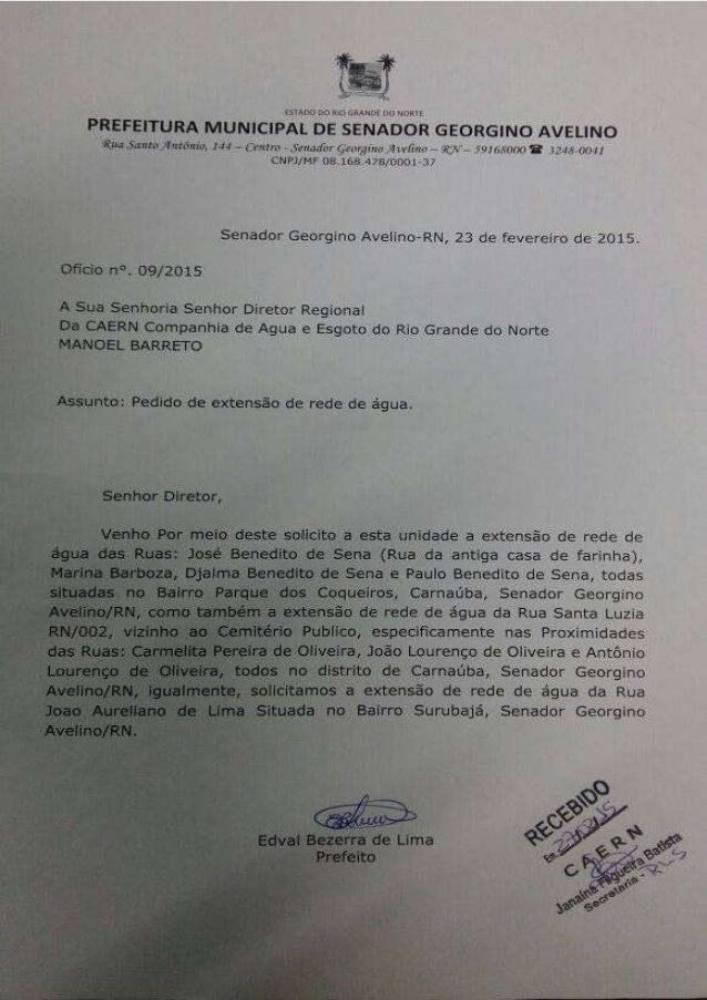 OFICIO PREFEITURA GEORGINO AVELINO A CAERN