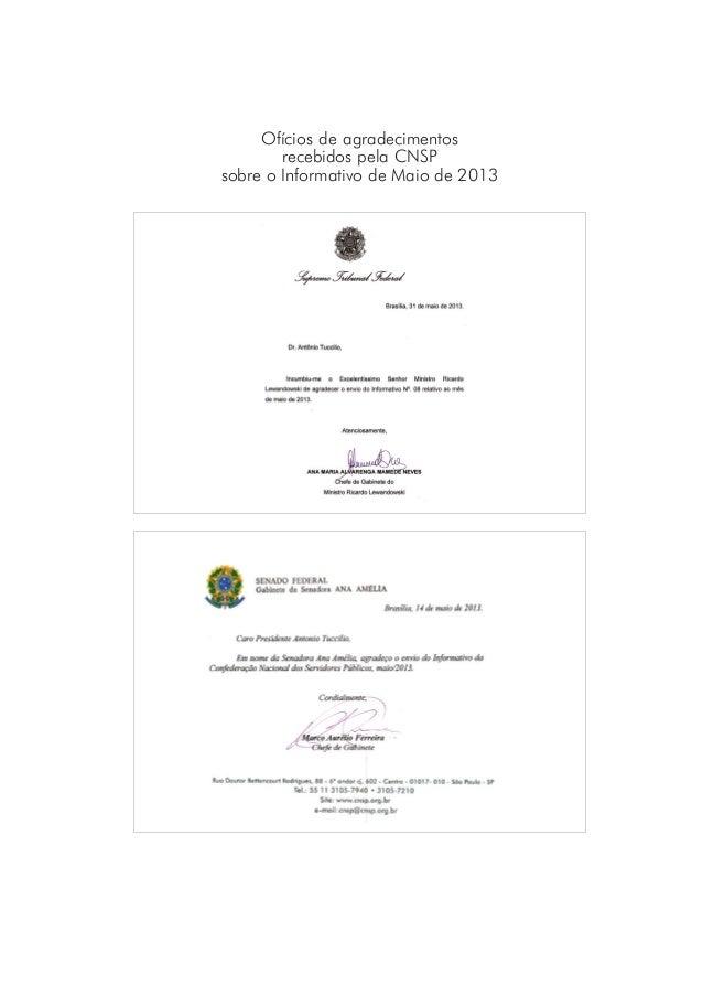 Ofícios de agradecimentosrecebidos pela CNSPsobre o Informativo de Maio de 2013