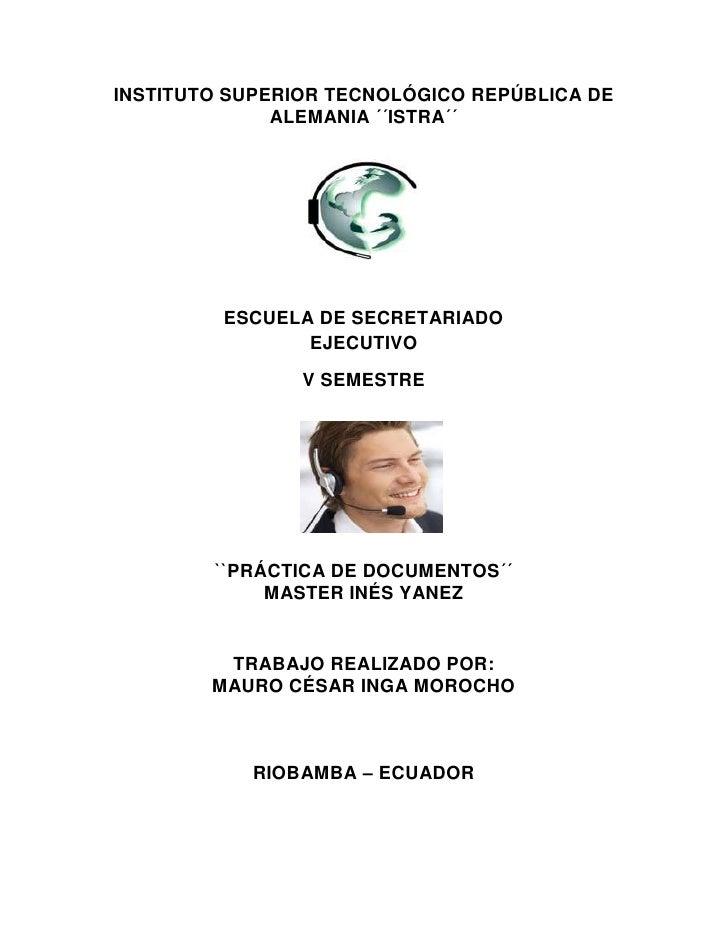 INSTITUTO SUPERIOR TECNOLÓGICO REPÚBLICA DE              ALEMANIA ´´ISTRA´´         ESCUELA DE SECRETARIADO               ...