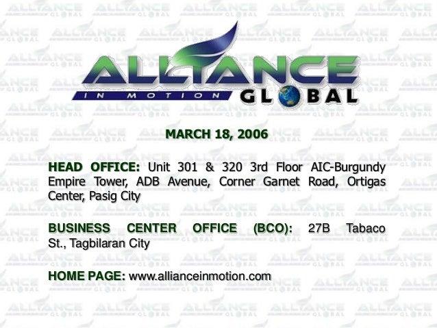 MARCH 18, 2006HEAD OFFICE: Unit 301 & 320 3rd Floor AIC-BurgundyEmpire Tower, ADB Avenue, Corner Garnet Road, OrtigasCente...