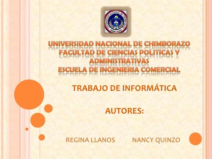 UNIVERSIDAD NACIONAL DE CHIMBORAZOFACULTAD DE CIENCIAS POLITICAS Y ADMINISTRATIVASESCUELA DE INGENIERIA COMERCIAL<br />TRA...