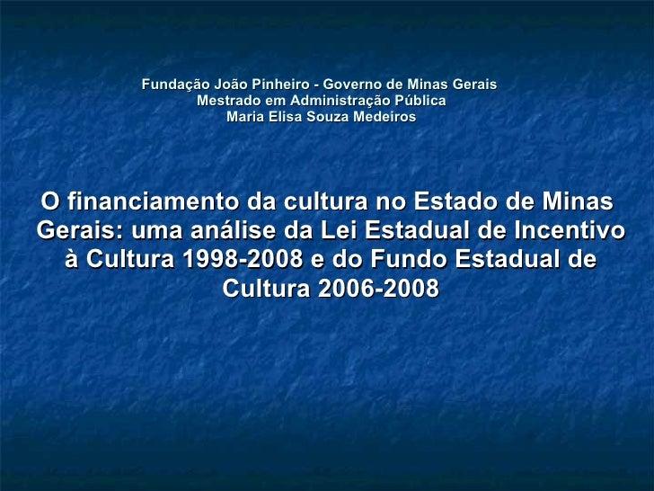 Fundação João Pinheiro - Governo de Minas Gerais  Mestrado em Administração Pública Maria Elisa Souza Medeiros O financiam...