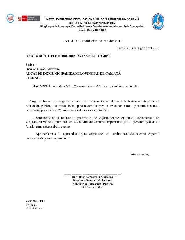 Oficio De Invitacion