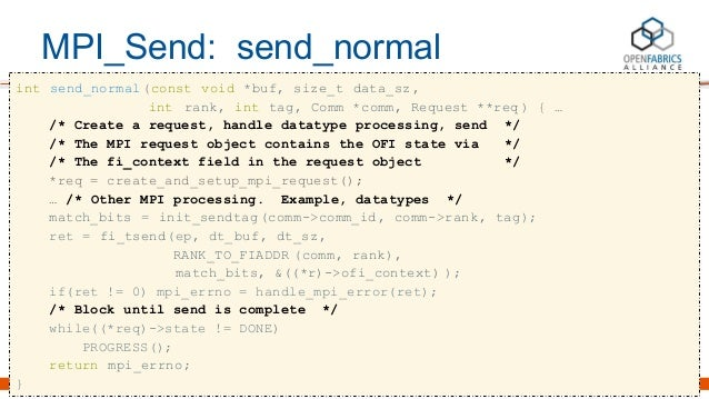 MPI_Send: send_normal int send_normal(const void *buf, size_t data_sz, int rank, int tag, Comm *comm, Request **req ) { … ...