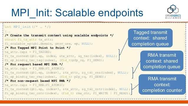 MPI_Init: Scalable endpoints int MPI_init(/* … */) { … /* Create the transmit context using scalable endpoints */ struct f...