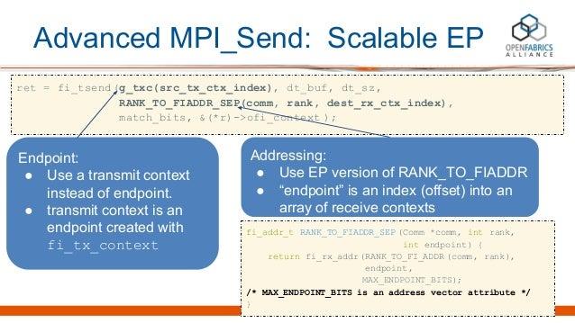 Advanced MPI_Send: Scalable EP ret = fi_tsend(g_txc(src_tx_ctx_index), dt_buf, dt_sz, RANK_TO_FIADDR_SEP(comm, rank, dest_...