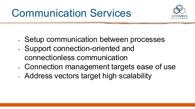Communication Services • Setup communication between processes • Support connection-oriented and connectionless communicat...