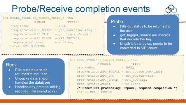 int probe_event(cq_tagged_entry_t *wc, Request *rreq){ rreq->done = TRUE; rreq->status.MPI_SOURCE = get_source(wc->tag); r...