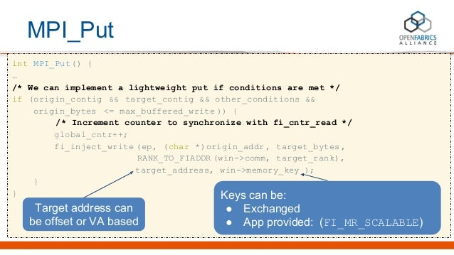 MPI_Put int MPI_Put() { … /* We can implement a lightweight put if conditions are met */ if (origin_contig && target_conti...