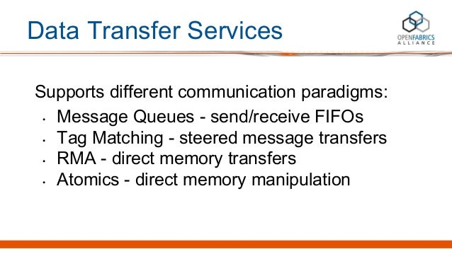 Data Transfer Services Supports different communication paradigms: • Message Queues - send/receive FIFOs • Tag Matching - ...