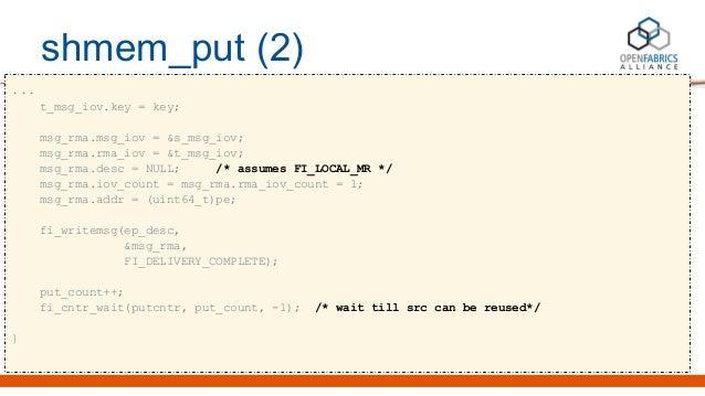 shmem_put (2) ... t_msg_iov.key = key; msg_rma.msg_iov = &s_msg_iov; msg_rma.rma_iov = &t_msg_iov; msg_rma.desc = NULL; /*...