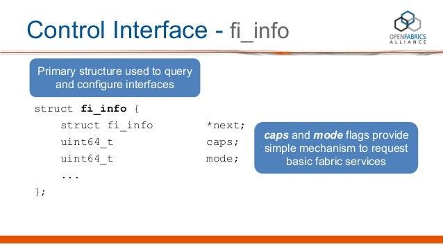 Control Interface - fi_info struct fi_info { struct fi_info *next; uint64_t caps; uint64_t mode; ... }; Primary structure ...