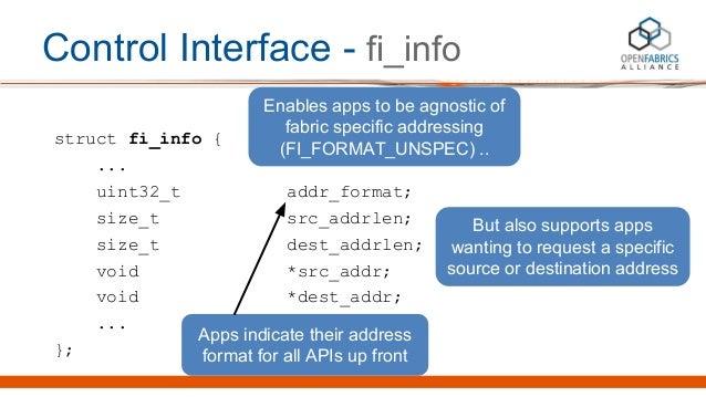 Control Interface - fi_info struct fi_info { ... uint32_t addr_format; size_t src_addrlen; size_t dest_addrlen; void *src_...