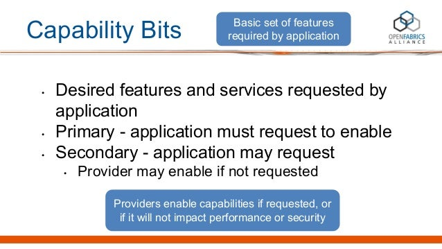 Capability Bits • Desired features and services requested by application • Primary - application must request to enable • ...