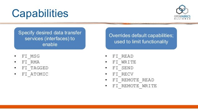 Capabilities • FI_MSG • FI_RMA • FI_TAGGED • FI_ATOMIC Specify desired data transfer services (interfaces) to enable • FI_...