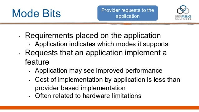Mode Bits • Requirements placed on the application • Application indicates which modes it supports • Requests that an appl...