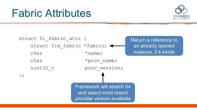 Fabric Attributes struct fi_fabric_attr { struct fid_fabric *fabric; char *name; char *prov_name; uint32_t prov_version; }...