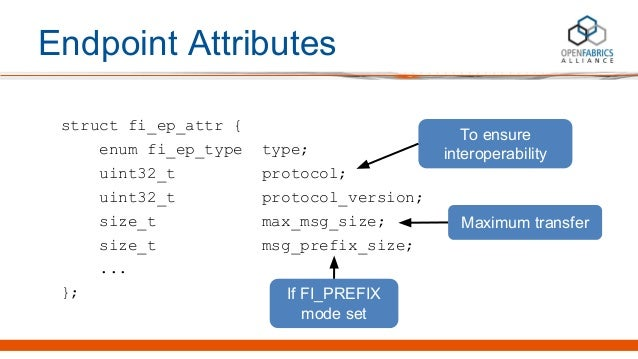 Endpoint Attributes struct fi_ep_attr { enum fi_ep_type type; uint32_t protocol; uint32_t protocol_version; size_t max_msg...
