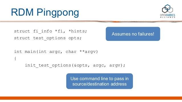 RDM Pingpong struct fi_info *fi, *hints; struct test_options opts; int main(int argc, char **argv) { init_test_options(&op...