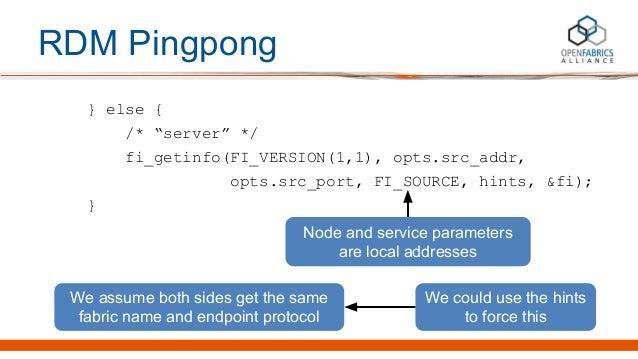 "RDM Pingpong } else { /* ""server"" */ fi_getinfo(FI_VERSION(1,1), opts.src_addr, opts.src_port, FI_SOURCE, hints, &fi); } N..."