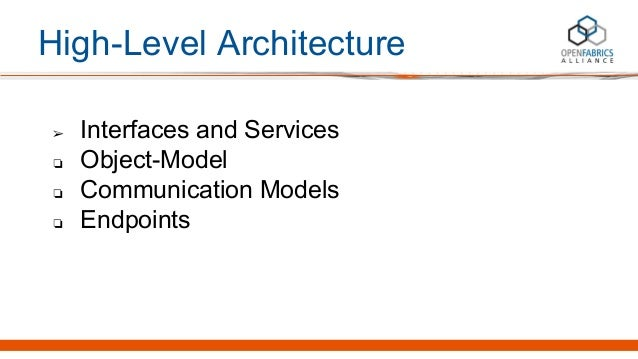High-Level Architecture ➢ Interfaces and Services ❏ Object-Model ❏ Communication Models ❏ Endpoints