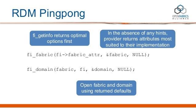 RDM Pingpong fi_fabric(fi->fabric_attr, &fabric, NULL); fi_domain(fabric, fi, &domain, NULL); fi_getinfo returns optimal o...