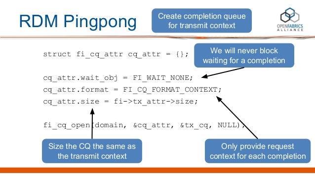 RDM Pingpong struct fi_cq_attr cq_attr = {}; cq_attr.wait_obj = FI_WAIT_NONE; cq_attr.format = FI_CQ_FORMAT_CONTEXT; cq_at...