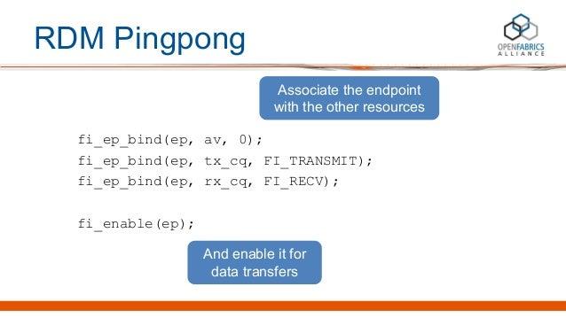 RDM Pingpong fi_ep_bind(ep, av, 0); fi_ep_bind(ep, tx_cq, FI_TRANSMIT); fi_ep_bind(ep, rx_cq, FI_RECV); fi_enable(ep); Ass...