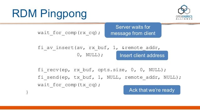 RDM Pingpong wait_for_comp(rx_cq); fi_av_insert(av, rx_buf, 1, &remote_addr, 0, NULL); fi_recv(ep, rx_buf, opts.size, 0, 0...
