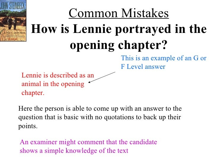 How lennie is portrayed in the
