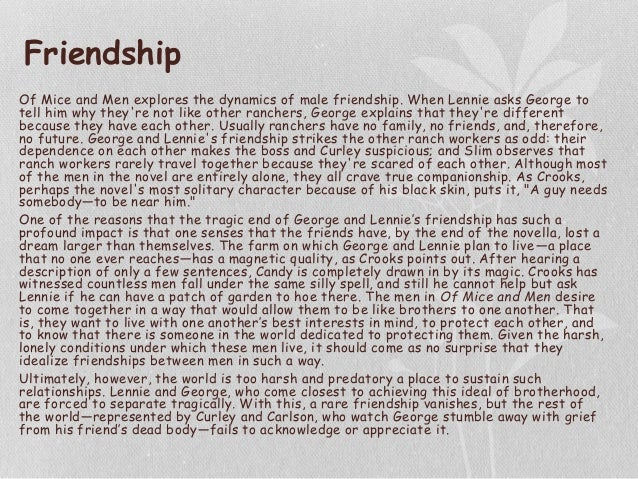 Of mice and men friendship theme essay