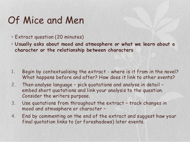 of mice and men scene analysis essay This is a good example essay about of mice and men by john steinbeck free sample research paper on of mice and men for students learn also how to write an essay on this novel.