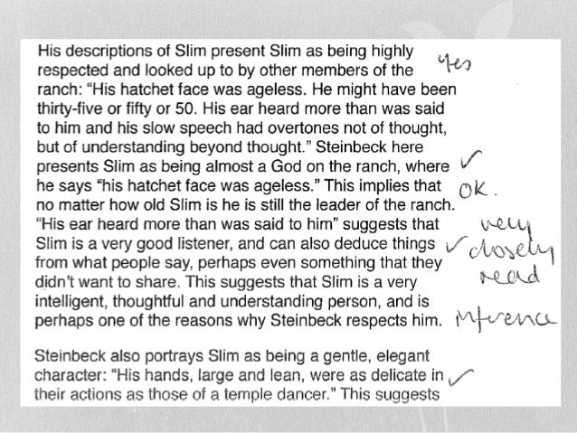 of mice and men revision slim sample responses on the character extract question 13