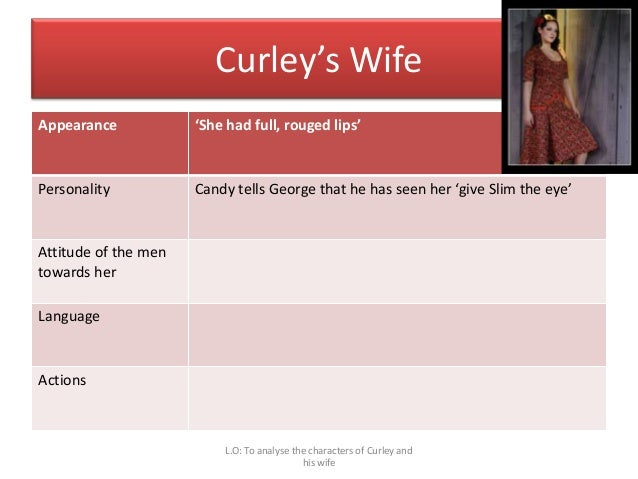character analysis curleys wife of mice Character analysis curley bookmark  when lennie kills curley's wife, curley sees this as his opportunity for revenge  about of mice and men character list.