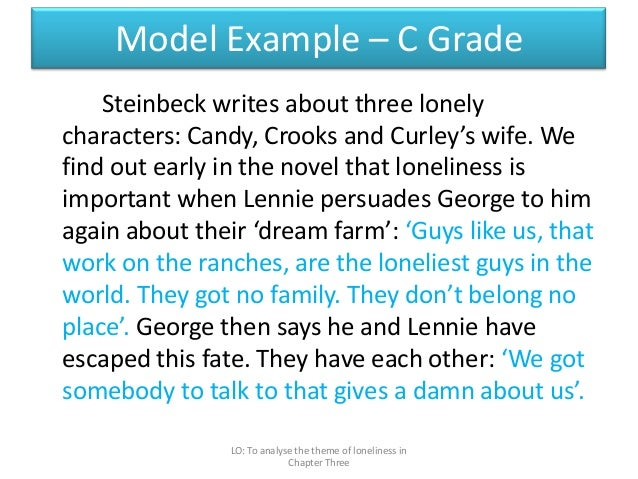 "an analysis of the theme of loneliness in the story of mice and men ""of mice and men"" is a skillful novel, which deals with the theme of `outsiders',  that is, individuals who do not fit into the mainstream of society the novel  portrays."