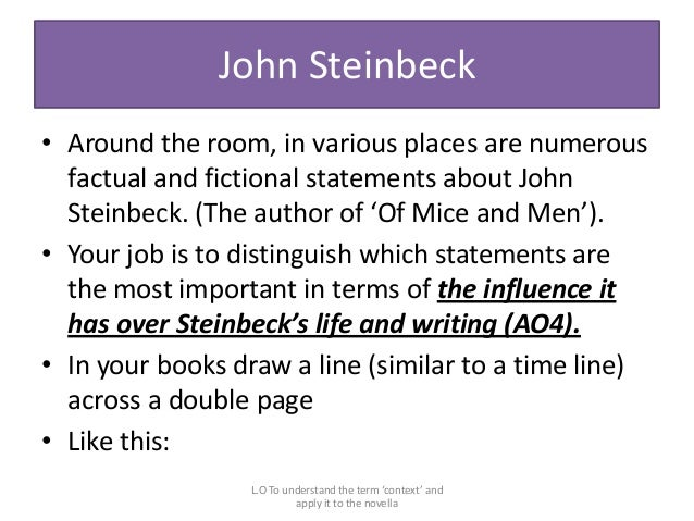 the use of literary devices in of mice and men by john steinbeck An analysis of john steinbeck's literary devices in of mice and men.