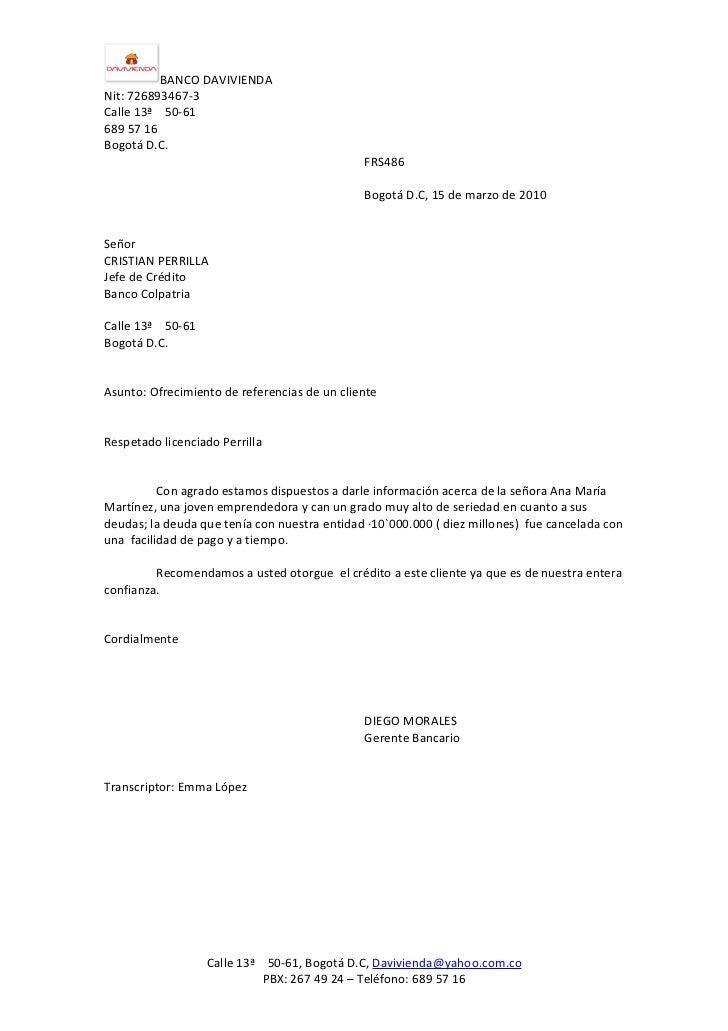 ofrecimiento de referencias de un cliente