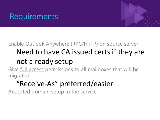 Cutover Exchange Migration Objective: Provide a simple & complete cutover migration experience for on-premises exchange cu...