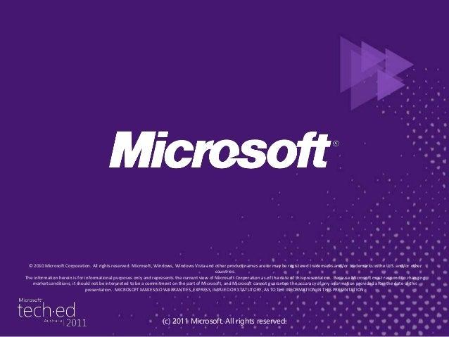 2011 - From Zero to productivity (Tech Ed 2011)