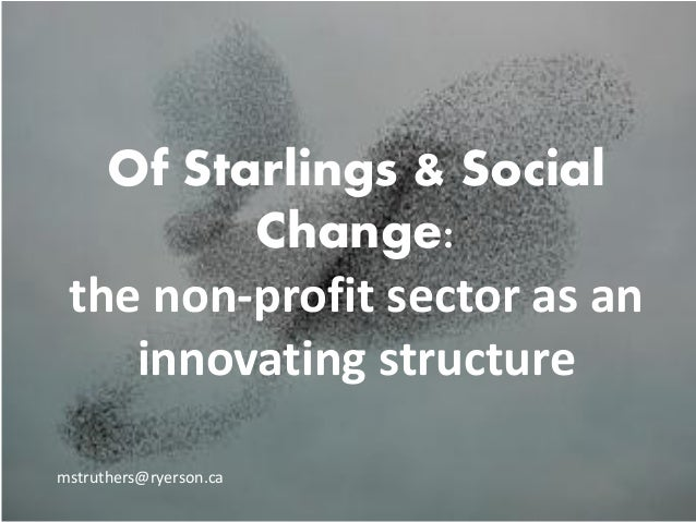 Of Starlings & Social Change: the non-profit sector as an innovating structure mstruthers@ryerson.ca